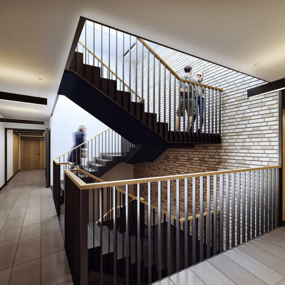 interior hall with staircase public 3d render