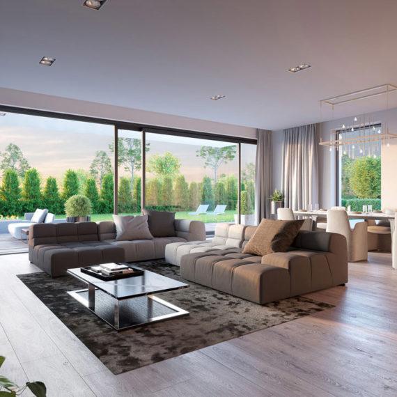 interior with garden 3d render