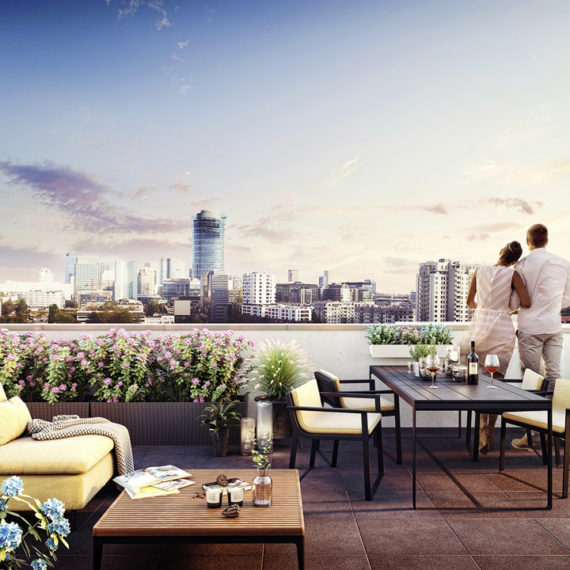 terrace with warsaw view 3d visualization