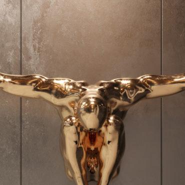 wizualizacje 3d produktowe rzeźba złota