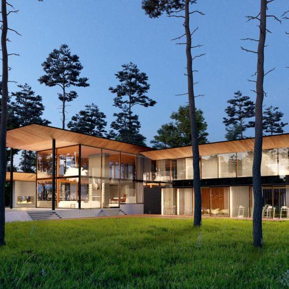 wizualizacje architektoniczne 3d dom w lesie