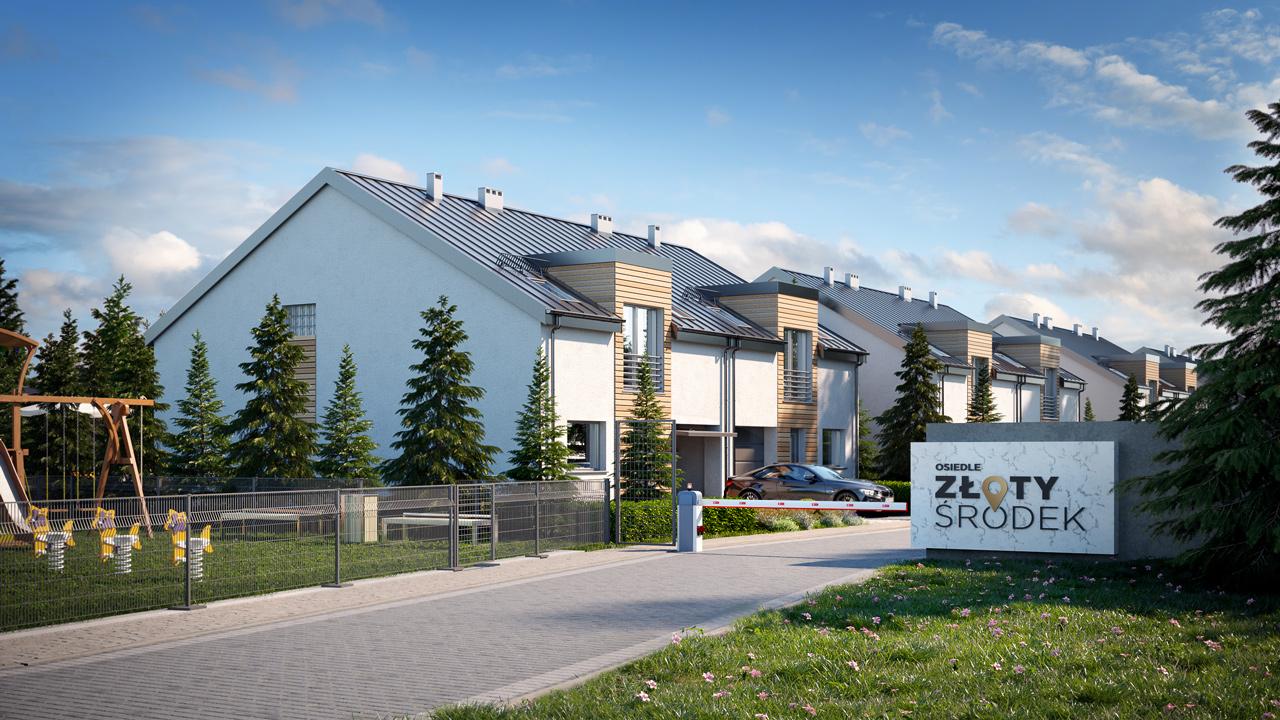 semi-detached housing estate 3d render