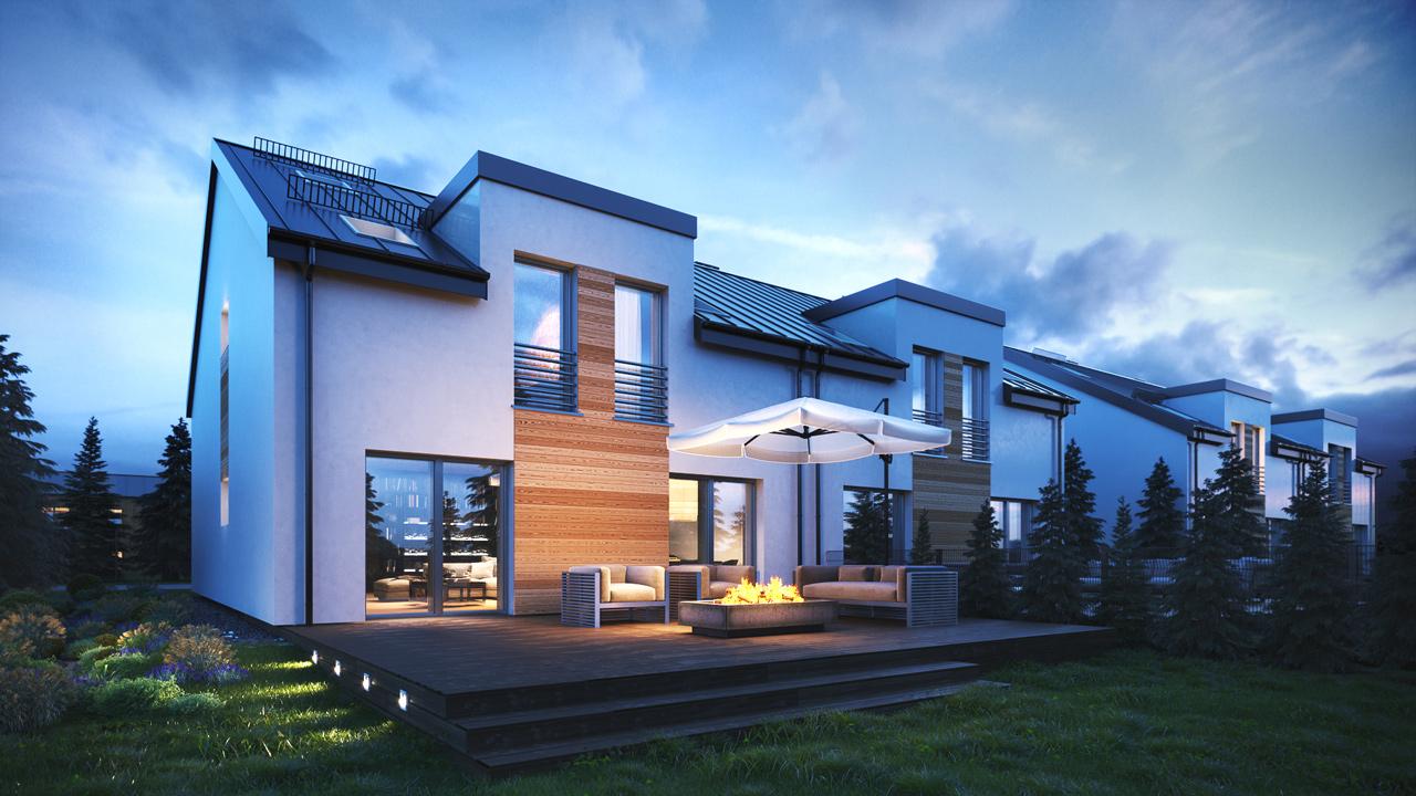 single-family-houses-3d-render-night